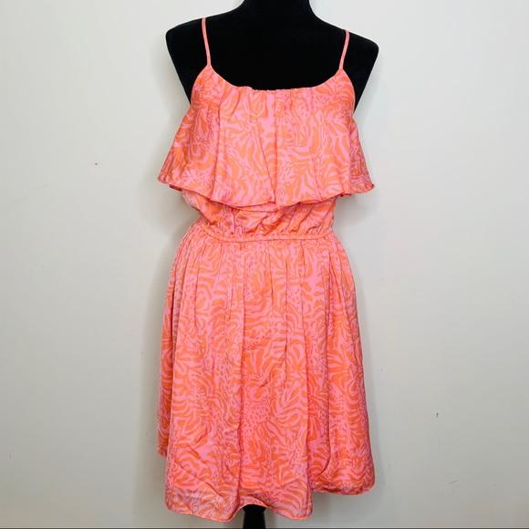 Lilly Pulitzer Pink Orange Ruffle Tank Dress S